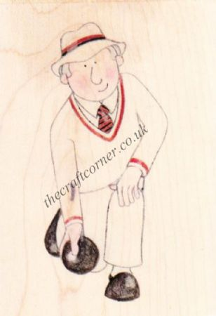 Bowls Man Paper Nation Wooden Rubber Stamp